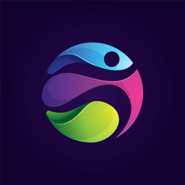 Pessoas coloridas arredondadas executam logotipo esporte Vetor Premium