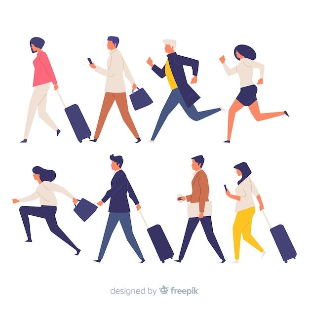 Pessoas coloridas em um conjunto de pressa Vetor grátis