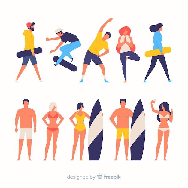 Pessoas coloridas fazendo esporte Vetor grátis