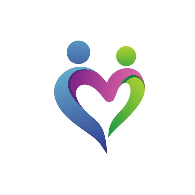 Pessoas com amor forma logo vector Vetor Premium