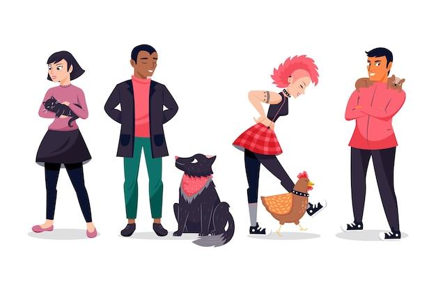 Pessoas com animais de estimação Vetor grátis