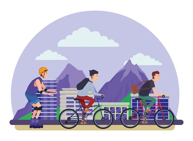 Pessoas, com, bicicletas, e, patins Vetor Premium