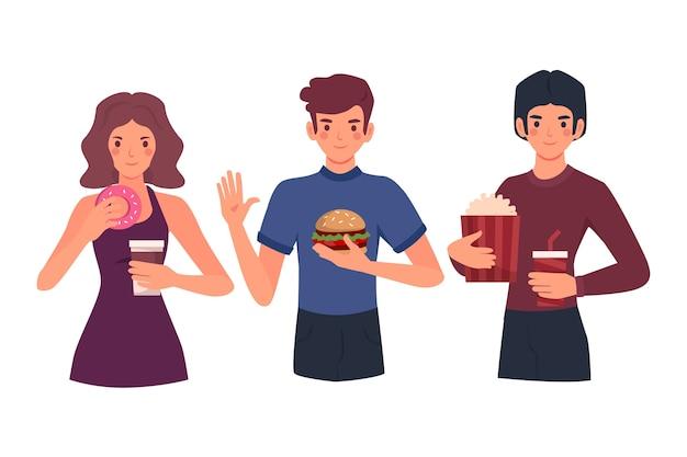 Pessoas com comida Vetor grátis