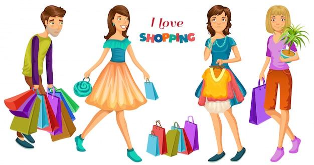 Pessoas com compras. Vetor Premium