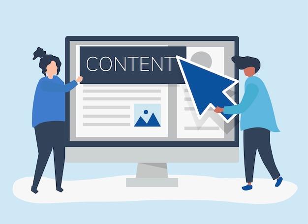 Pessoas com conceito de criação de conteúdo digital Vetor grátis