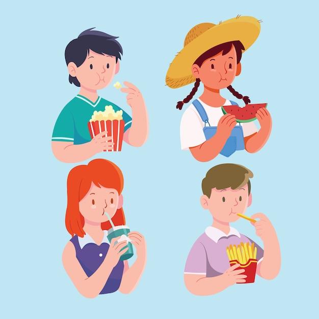 Pessoas com conceito de ilustração de comida Vetor grátis
