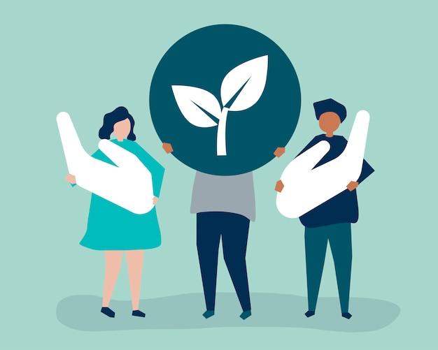 Pessoas com conceito de responsabilidade ambiental Vetor grátis