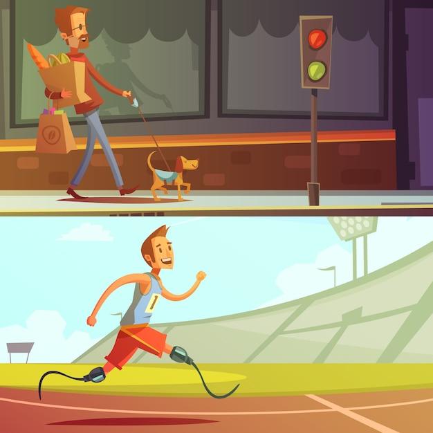 Pessoas com deficiência cego com cachorro e corredor Vetor grátis