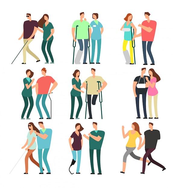 Pessoas com deficiência com amigos carinhosos. pessoas com deficiência e assistentes médicos Vetor Premium