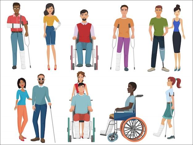 Pessoas com deficiência com amigos Vetor Premium