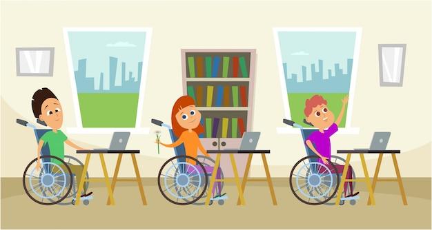 Pessoas com deficiência em cadeira de rodas sentado na mesa da escola. Vetor Premium