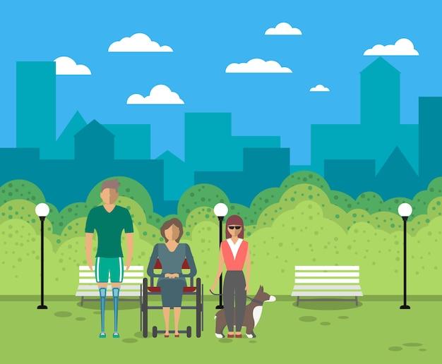 Pessoas com deficiência no conceito de vida na cidade Vetor Premium