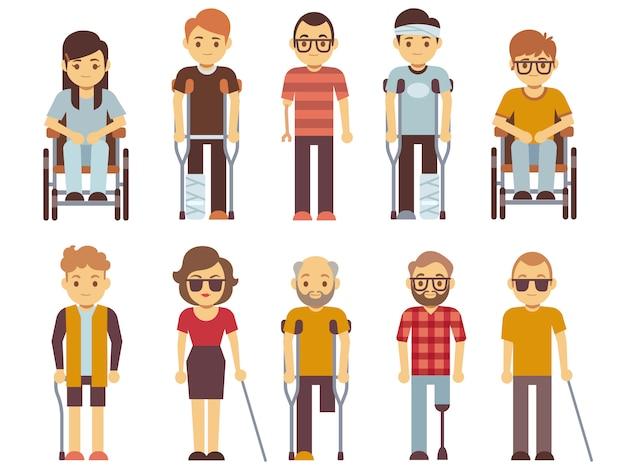 Pessoas com deficiência vector conjunto. pessoas inválidas velhas e jovens isoladas Vetor Premium