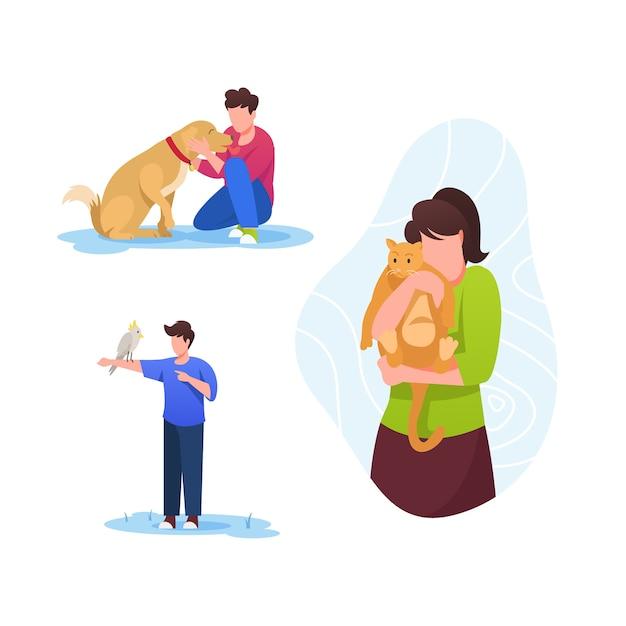 Pessoas com diferentes animais de estimação Vetor grátis