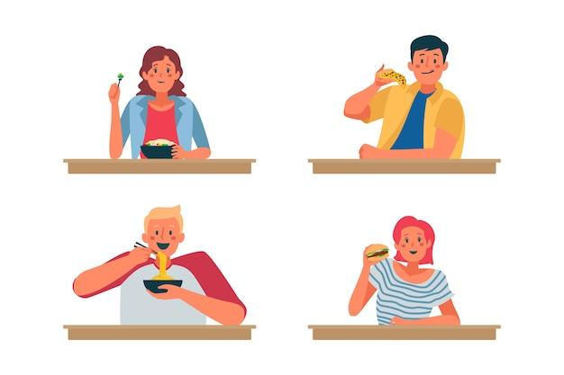 Pessoas com diferentes hábitos alimentares Vetor grátis