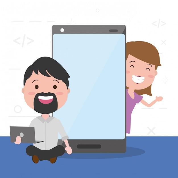 Pessoas com dispositivos de tecnologia Vetor grátis