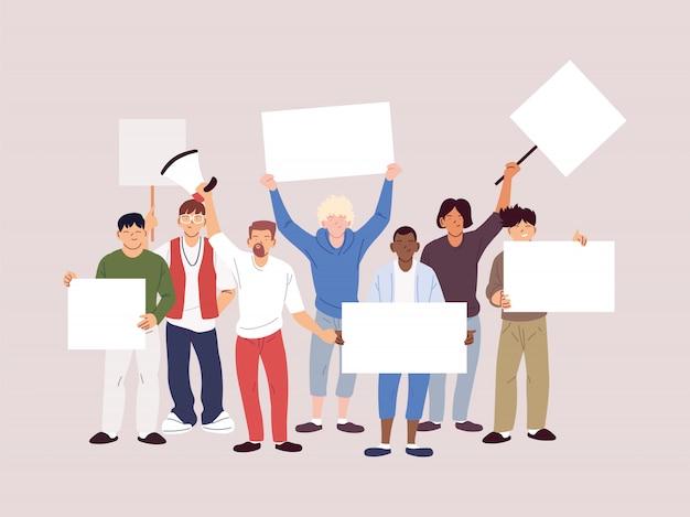 Pessoas com faixas e cartazes protestam, pessoas levantam os punhos e cartazes nos protestos Vetor Premium