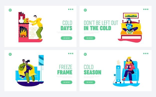 Pessoas com frio em casa. conjunto de páginas iniciais com personagens de desenhos animados Vetor Premium
