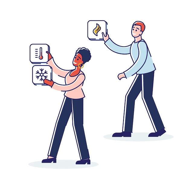 Pessoas com ícones de smart house intelligence Vetor Premium