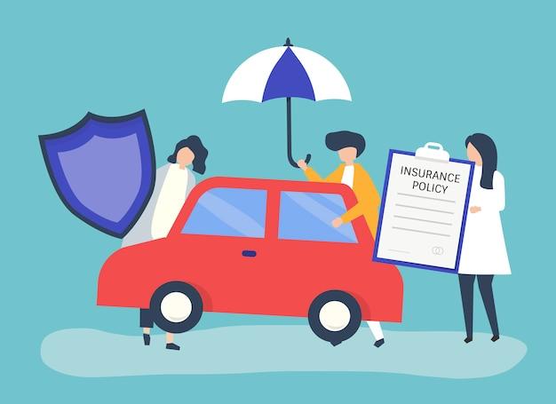 Pessoas com ícones relacionados ao seguro de carro Vetor grátis