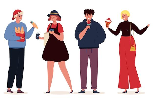 Pessoas com ilustração de comida Vetor grátis
