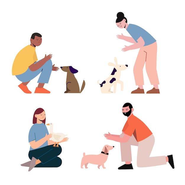 Pessoas com ilustração de diferentes animais de estimação Vetor grátis