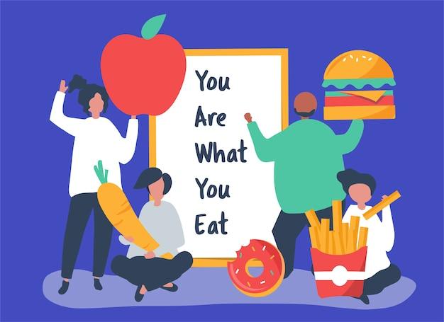 Pessoas com ilustração de ícones de comida Vetor grátis
