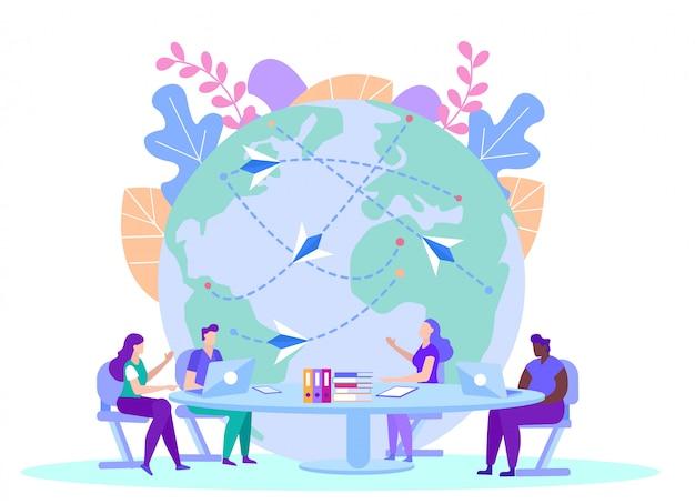 Pessoas com informações de origem no globo. ensino à distância. e-learning. treinamento on-line. as pessoas se sentam à mesa com laptops. Vetor Premium
