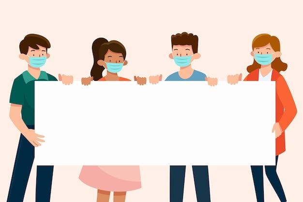 Pessoas com máscaras médicas com cartazes Vetor grátis