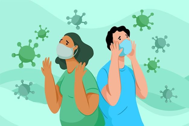 Pessoas com medo da doença coronavírus Vetor grátis