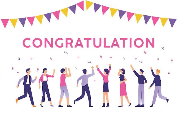 Pessoas com o sinal de parabéns Vetor Premium