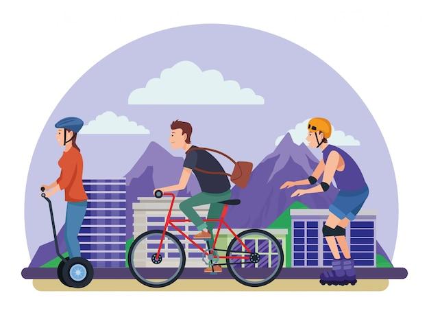 Pessoas com patins bicicletas e scooter Vetor Premium
