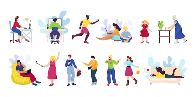 Pessoas com smartphones, um conjunto de dispositivos digitais. homem e mulher usando smartphone, celular ou tablet de dispositivo de tecnologia nos meios de comunicação de rede social. Vetor Premium