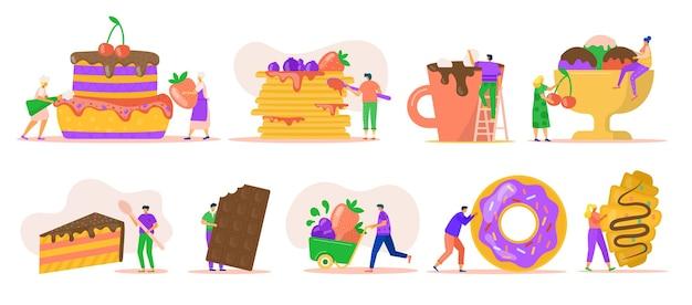 Pessoas com sobremesas isoladas em branco. personagens minúsculos com sorvete, rosquinha enorme, chocolate, puncakes e bolo. doce depois de comida para padaria. sobremesa deliciosa e doce. Vetor Premium