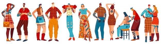 Pessoas com tatuagens, conjunto de personagens de desenhos animados em branco, mão desenhada homem e mulher, ilustração Vetor Premium