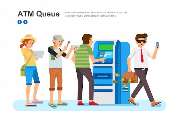 Pessoas com várias profissões se alinham na frente da ilustração isométrica da máquina do atm Vetor Premium
