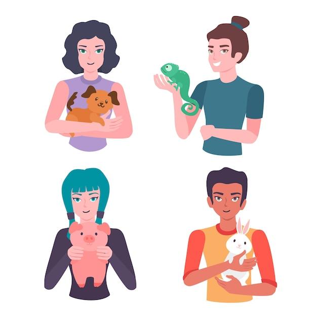 Pessoas com vários animais de estimação Vetor grátis
