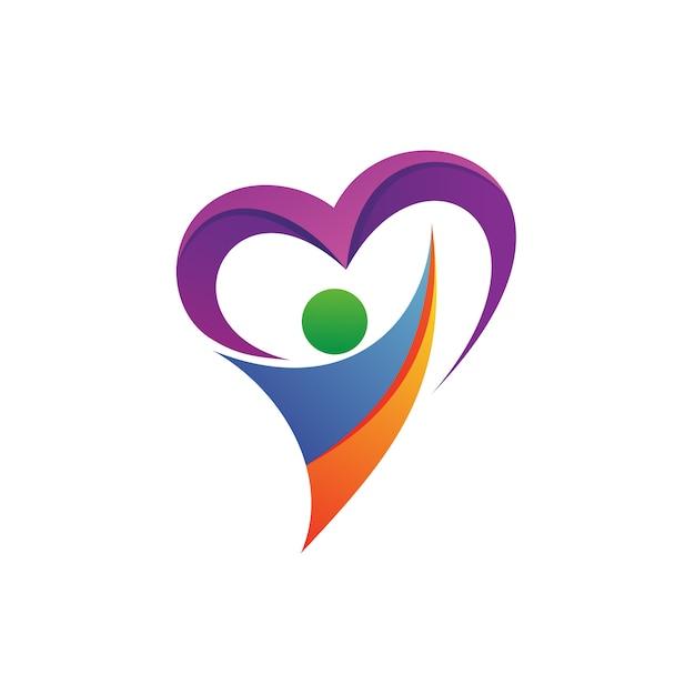 Pessoas com vector logo coração Vetor Premium