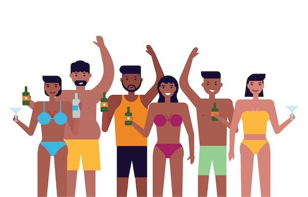 Pessoas, com, verão, praia, partido Vetor Premium