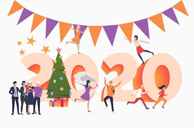 Pessoas comemorando o ano novo 2020 Vetor grátis