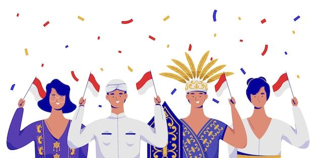Pessoas comemorando o dia da independência da indonésia com roupas tradicionais. Vetor Premium