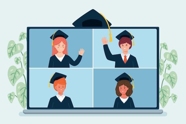 Pessoas comemorando sua graduação on-line Vetor grátis