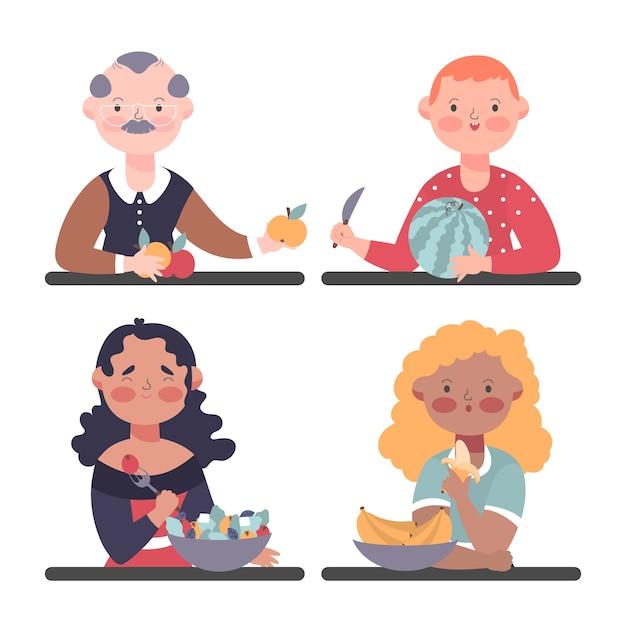 Pessoas comendo frutas saborosas Vetor grátis