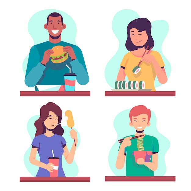 Pessoas comendo sua comida na mesa Vetor grátis