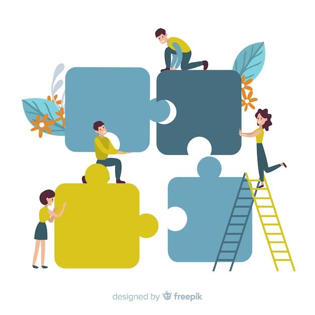 Pessoas, conectando, quebra-cabeça, pedaços, fundo Vetor grátis