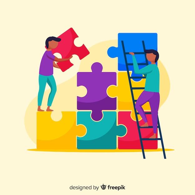 Pessoas, conectando, quebra-cabeça, pedaços, ilustração Vetor grátis