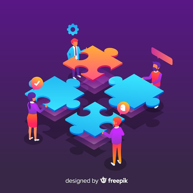Pessoas, conectando, quebra-cabeça, pedaços Vetor grátis