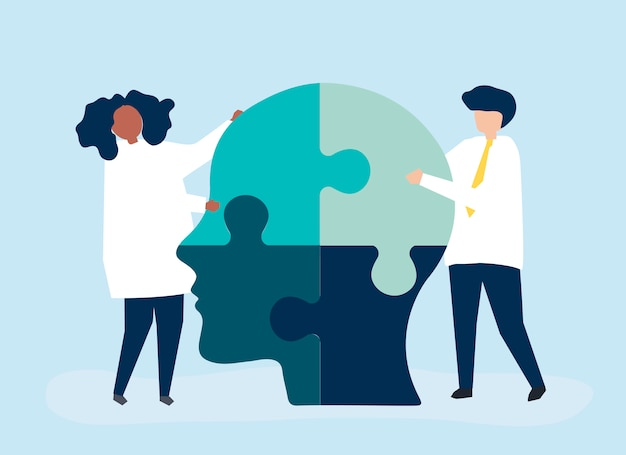 Pessoas, conectando, quebra-cabeças, pedaços, de, um, cabeça, junto Vetor grátis