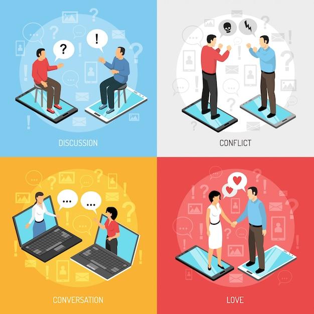 Pessoas conversando caracteres isométricos conceito Vetor grátis