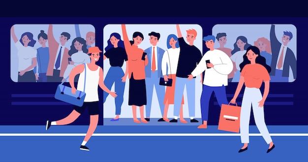 Pessoas correndo para ilustração de trem superlotado Vetor Premium